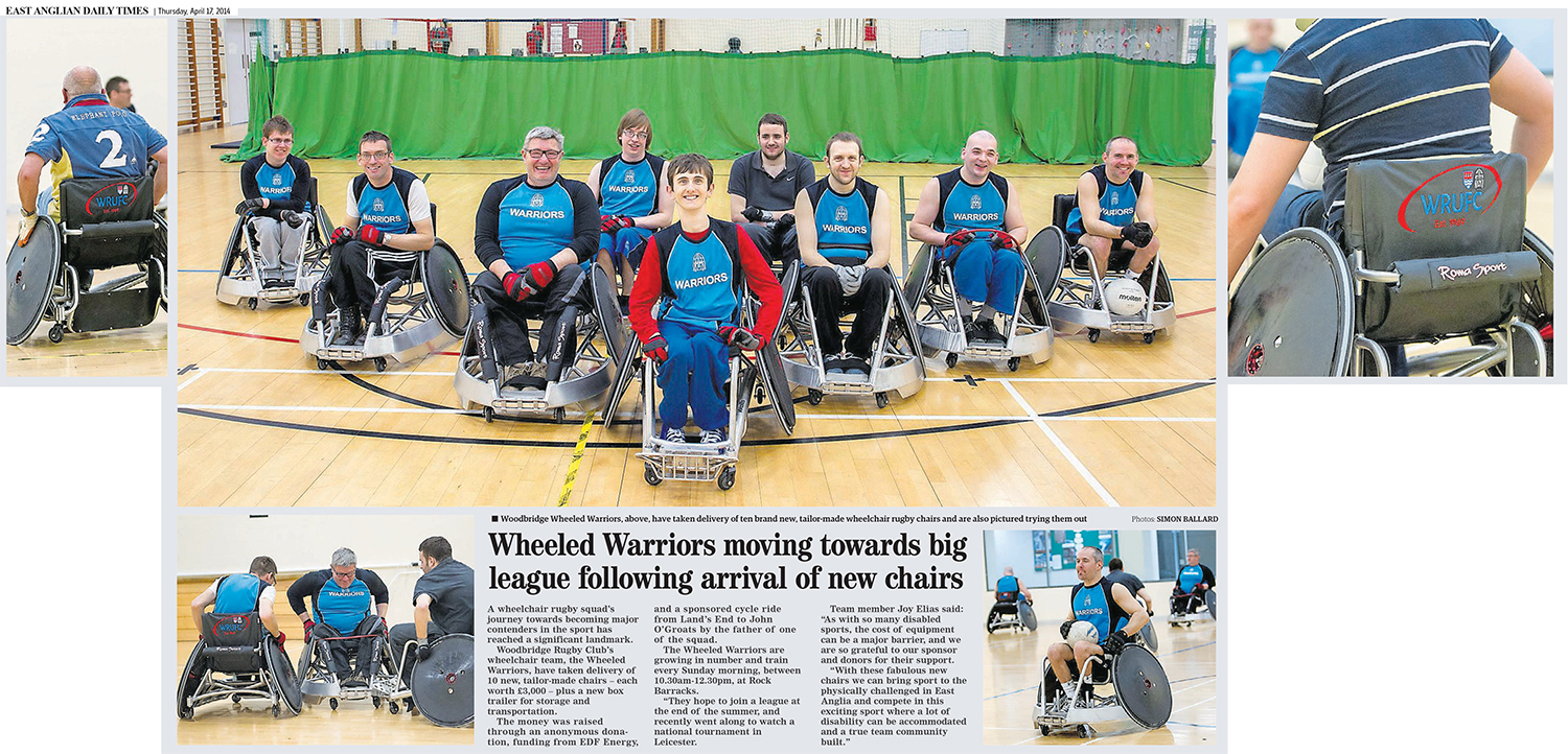 Wheeled Warriors moving towards big league following arrival of new chairs EADT 17_4_14